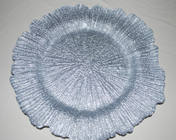 silver glass shell charger plate