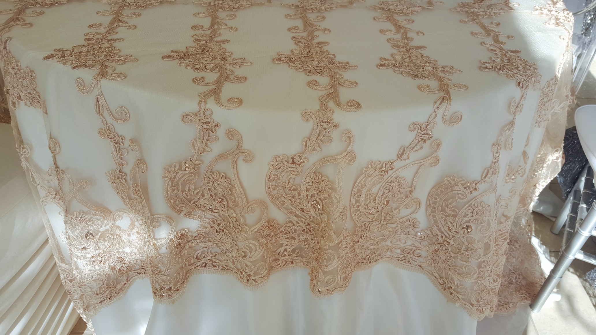 Champagne Rope Sequin Lace Trim